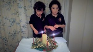 Two lit Advent candles